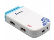 Dtech DT-3080 4 Port USB2.0 HUB Support 2TB with Power Adapter (White)