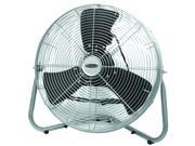 High velocity floor fan provides maximum air movement when and where it is needed most. Circulate air in almost any direction with the easy tilt fan head. All metal construction.