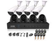 ZOSI New Arrival 8CH D1 DVR HDMI Output Home Security System Easy DIY 960H 800TVL 4pcs Dome Cameras 4pcs Array Cameras IR Outdoor Surveillance CCTV Waterproof IP66 Camera kit