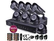 ZOSI 8CH D1 Real Time DVR HDMI Output DVR System Easy DIY with 960H 800TVL Cameras 4pcs Dome 4pcs Bullet IR Outdoor IP66 Security Cameras