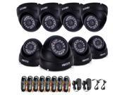ZOSI New 960H 800TVL 24IR LED Waterproof Dome Camera 8pcs/lot Outdoor Night Vision 65ft CCTV Home Security Camera kit System