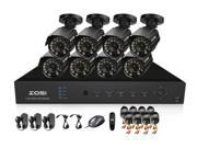 ZOSI 8CH HDMI Output DVR Surveillance System kit with 8PCS High Resolution 700TVL waterproof Bullet Security Camera Kit Home Security