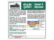 SIMPLE GREEN 9500001085435 Label,Laminated Paper,PK 10