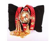 Waterproof Women Leather Vintage Watch Leaf Pendant Bracelet Wristwatches