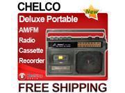 Chelco Deluxe Portable AM/FM Radio Cassette Recorder