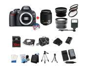 Nikon D3100 DSLR Camera + 18-55 - 3 Lens Kit Bundle + 32GB Memory Card + Case + Extra Battery + Charger + Tripod