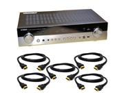 Yamaha RX-S600 Slim 5.1 Channel Home Theater Receiver + 5 HDMI Cables Bundle - New