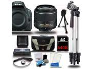 Nikon D5500 24.2 MP DSLR Camera w/ 18-55mm Lens Starter Bundle Black 64GB + Reader 15pc Kit New