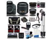 Nikon D5500 DSLR Black Camera w/ 18-55mm + Wide-Angle + Telephoto 3 Lens 23pc Premium Kit 128GB