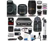 Nikon D5500 DSLR Camera Black w/ 18-55 + 55-300mm VR + 4 Lens Kit Bundle 16GB