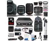 Nikon D5500 DSLR Camera Black w/ 18-55 + 55-200 + 50mm 5 Lens Kit Bundle 16GB