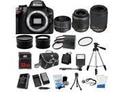 Nikon D3200 SLR Camera + 18-55 VR + 55-200 VR + 50mm - 5 Lens  KIT+ 32GB + Case