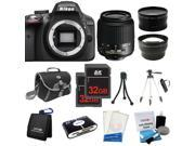 Nikon D3300 SLR Camera + 18-55mm VR + 3 Lens + 64GB + Case / Bag + Tripod - NEW