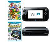 Nintendo Wii U Blk Deluxe Bundle w/ Mario 3D World & Nintendo Land Games Refurb
