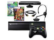 Microsoft Xbox 360 Black 4GB Gaming Console + Controller + Kinect + HDMI + Head Set + Kinect Sports 2 & Adventures Games