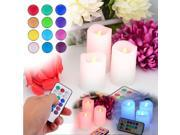 New 3 Pcs Party Wedding Christmas New Year Home Decoration Wireless Remote Control 12 color Led Candle Light Flameless Lamps