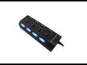 1 pcs USB 2.0 Hub Adapter 4 Port Slot Tap Splitter Power On/Off Switch LED Light