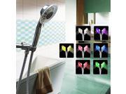 GTV 2 Function LED 7 Colors Changing Shower Head with Hose/Mounting Bracket
