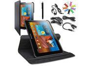 SQdeal® Accessory Bundle 8 in 1 Classic Black 360 Degree Rotating Pu Leather Folio Stand Case Cover + Touch Stylus +Car Charger + Earphone etc for Samsung Galaxy Tab 10.1 P7510 P7500