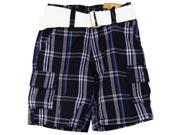 American Heritage Little Boys' Plaid Twill Cargo Shorts With Belt 3T Navy