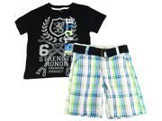 Blac Label Little Boys' Graphic Tee Shirt With Plaid Belted 2Pc Shorts Set, Black, 2T