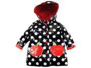 Wippette Little Girls' Polka Dots Rain Coat Jacket, Black, Size 4