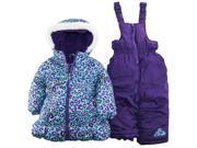Pink Platinum Little Girls' 2 Piece Cheetah Print Snowsuit, Blue, 2T