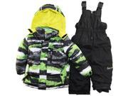 Big Chill Little Boys' Brushed Paint 2 Piece Snowsuit with Ski Pant Set, Lime, 7