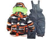 Big Chill Little Boys' Brushed Paint 2 Piece Snowsuit with Ski Pant Set, Orange, 5