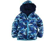 Ixtreme Little Boys' Camo Army Reversable Jacket Hooded Spring Coat, Navy, 5