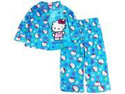 Hello Kitty Little Girls' Button Up Coat Pajama 2 Pice Set size 2T Blue