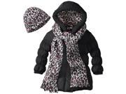 Pink Platinum Little Girls Puffer Winter Jacket Coat with Scarf and Hat Set, Black, 4T