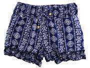 Star Ride Little Girls' Adjustable Waist Aztec Ruffle Shorts, Navy, 6X