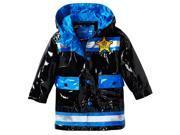 Wippette Little Boys' Toddler Waterproof Vinyl Hooded Policeman Raincoat Jacket, Black, 2T