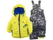 Rugged Bear Little Boys' Solid Patch Pocket Snowsuit, Acid, 2T