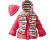 Pink Platinum Little Girls' Solid Puffer with Hat and Striped Scarf, Fuchsia, 2t