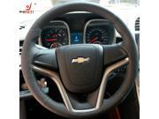 Steering Wheel Cover for Chevrolet Malibu 2011-2014 XuJi Car Special Hand-stitched Black Genuine Leather Suede Covers