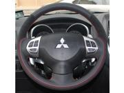Mitsubishi Lancer EX Outlander ASX Colt Pajero Sport Steering Wheel Cover Car Special Hand-stitched Black Leather Suede Covers