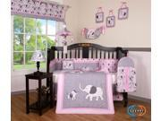Boutique Pink Gray Elephant Dynasty 13PCS CRIB BEDDING SET