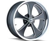 "Ridler 645 17x8 5x4.75"" 0mm Black/Machined Wheel Rim"