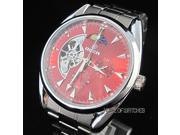 Red Dial Stainless Steel Band Automatic Mechanical Wrist Watch
