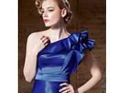 Sparkle Blue One Shoulder Ruffled Style Mermaid Long Evening Gown Dress