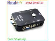 2 Port USB 2.0 MONITOR VIDEO VGA KVM Switch Switchbox for Control 2 Computers PC Without Cables