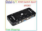 USB 2.0 4 PORT KVM VGA Keyboard Mouse Switch Box Without Cables 4 Port KVM Switch