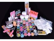 48 Acrylic Glitter Liquid Nail Art Brush Glue UV Powder Set Kit Tips liquid