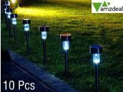 Amzdeal Set of 10 Solar-Powered LED Accent Light led garden lights High-Output LED Solar Path Lights Waterproof Solar Powered Stainless Steel LED Lights Landscape Floodlight Lamp for Outdoor Garden