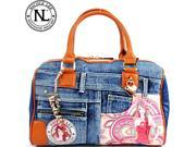 Nicole Lee Wanda Denim Print Boston Bag