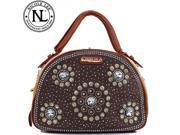 Nicole Lee Annemarie Flower Studded Rhinestone Bowler Bag