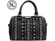 Nicole Lee Chanelle Chain and Stud Embellished Boston Bag