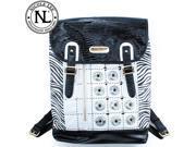Nicole Lee Minerva Zebra Quilted Embellished Backpack Purse